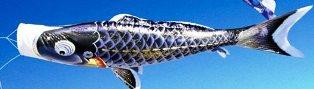 徳永こいのぼり よろこびの鯉 千寿 黒鯉 単品 3m [koi-0468]