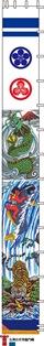 徳永こいのぼり 節句幟 友禅 出世登龍門幟 単品 7.5m物 (巾90cm) [koi-1445]